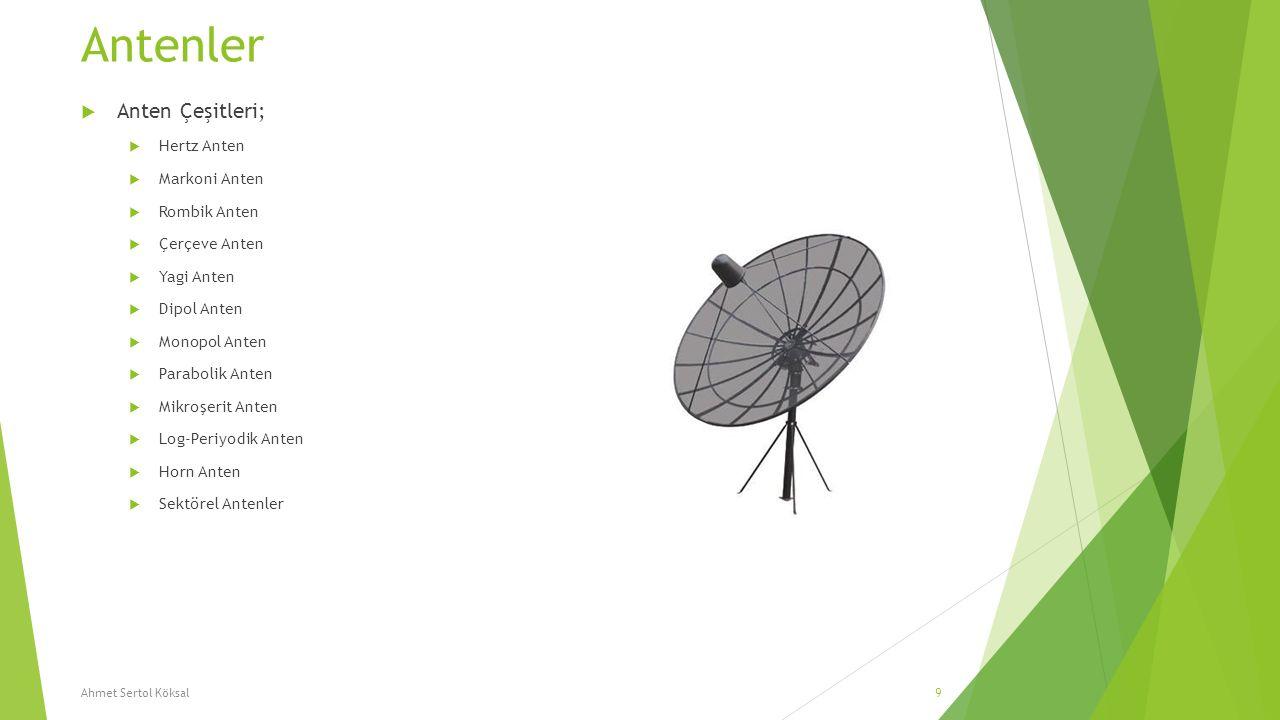 Antenler  Anten Çeşitleri;  Hertz Anten  Markoni Anten  Rombik Anten  Çerçeve Anten  Yagi Anten  Dipol Anten  Monopol Anten  Parabolik Anten