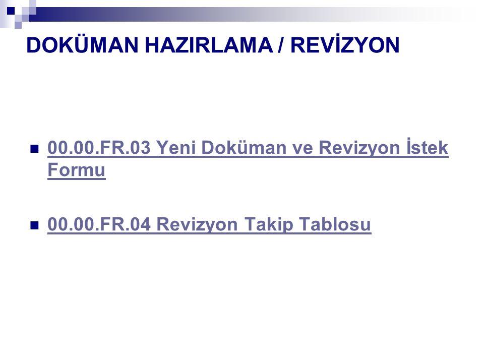 DOKÜMAN HAZIRLAMA / REVİZYON 00.00.FR.03 Yeni Doküman ve Revizyon İstek Formu 00.00.FR.03 Yeni Doküman ve Revizyon İstek Formu 00.00.FR.04 Revizyon Ta
