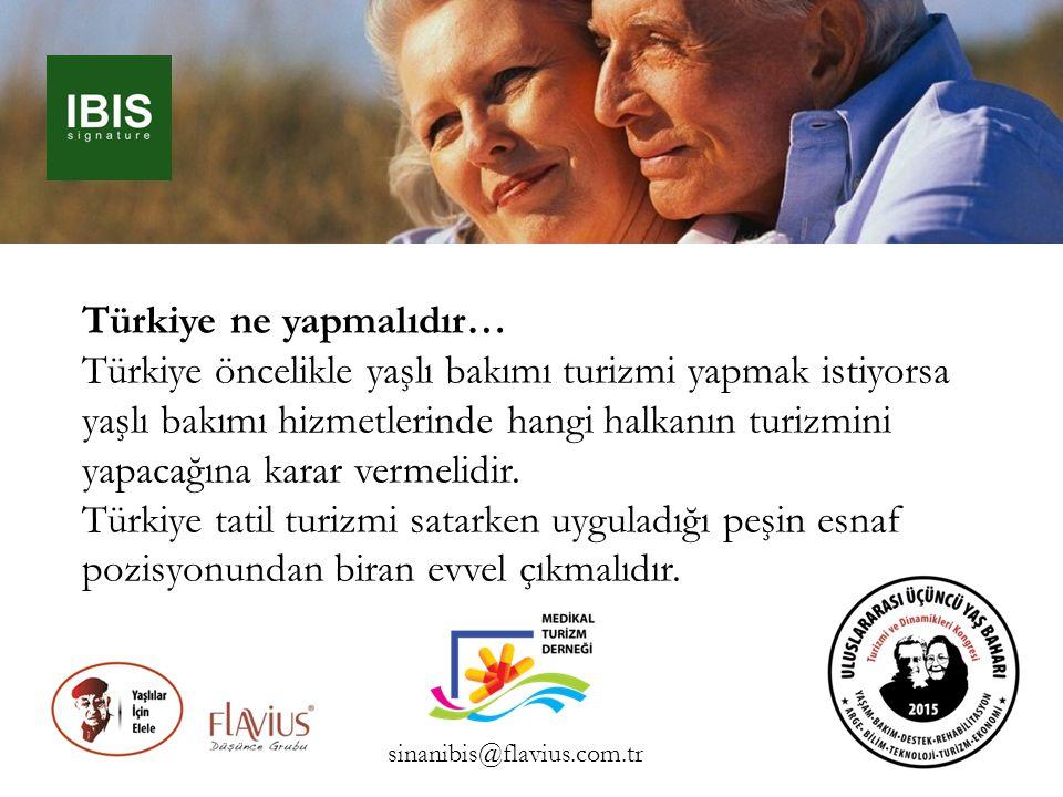 Türkiye ne yapmalıdır… Türkiye öncelikle yaşlı bakımı turizmi yapmak istiyorsa yaşlı bakımı hizmetlerinde hangi halkanın turizmini yapacağına karar ve