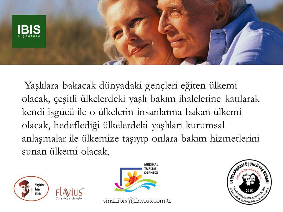 Yaşlılara bakacak dünyadaki gençleri eğiten ülkemi olacak, çeşitli ülkelerdeki yaşlı bakım ihalelerine katılarak kendi işgücü ile o ülkelerin insanlar