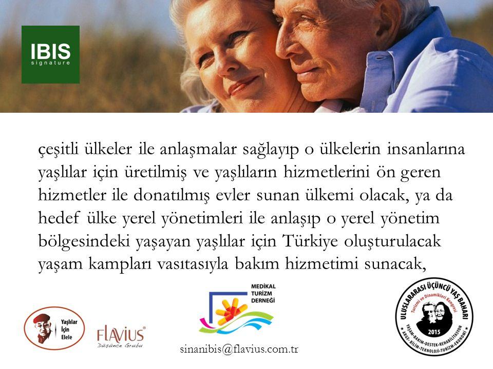 çeşitli ülkeler ile anlaşmalar sağlayıp o ülkelerin insanlarına yaşlılar için üretilmiş ve yaşlıların hizmetlerini ön geren hizmetler ile donatılmış e
