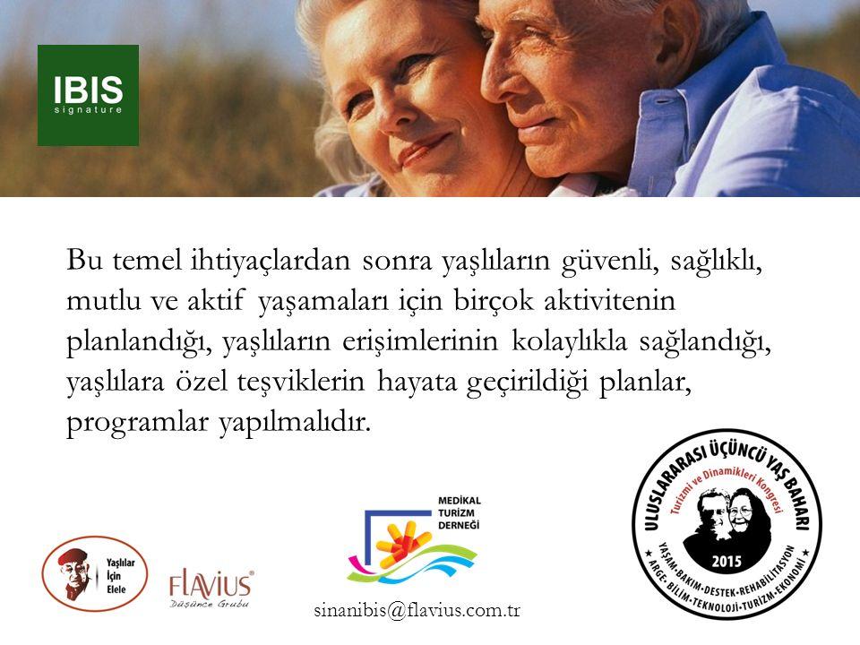Bu temel ihtiyaçlardan sonra yaşlıların güvenli, sağlıklı, mutlu ve aktif yaşamaları için birçok aktivitenin planlandığı, yaşlıların erişimlerinin kol