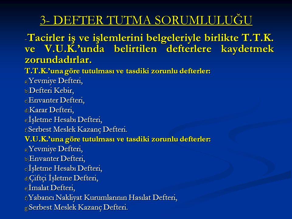3- DEFTER TUTMA SORUMLULUĞU - Tacirler iş ve işlemlerini belgeleriyle birlikte T.T.K.