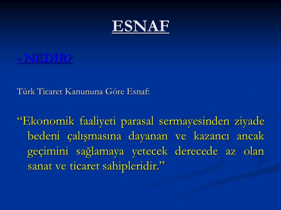"""ESNAF - NEDİR? Türk Ticaret Kanununa Göre Esnaf: """"Ekonomik faaliyeti parasal sermayesinden ziyade bedeni çalışmasına dayanan ve kazancı ancak geçimini"""