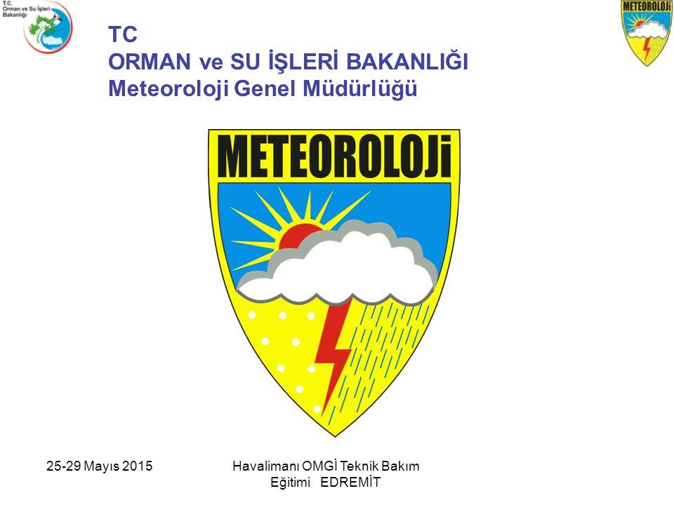 25-29 Mayıs 2015Havalimanı OMGİ Teknik Bakım Eğitimi EDREMİT TC ORMAN ve SU İŞLERİ BAKANLIĞI Meteoroloji Genel Müdürlüğü
