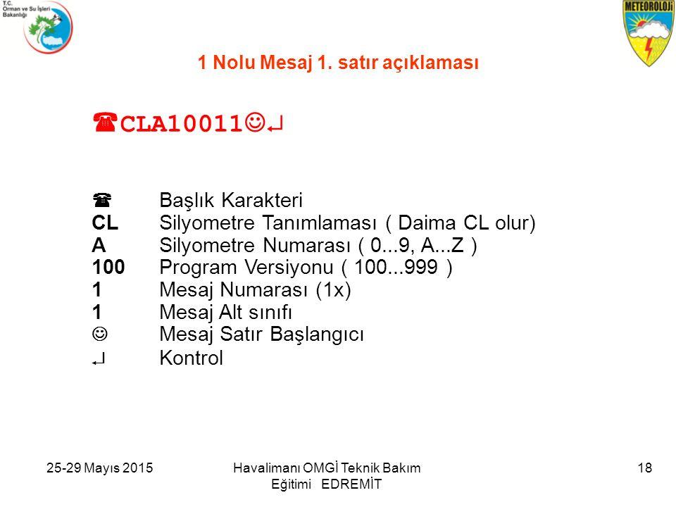 25-29 Mayıs 2015Havalimanı OMGİ Teknik Bakım Eğitimi EDREMİT 18 1 Nolu Mesaj 1. satır açıklaması  CLA10011   Başlık Karakteri CLSilyometre Tanımlam