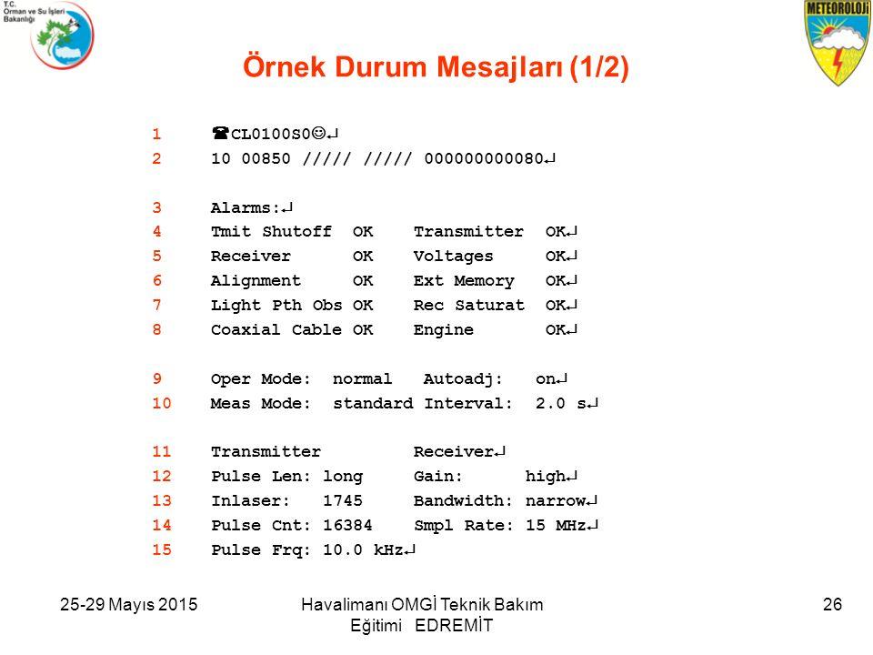 25-29 Mayıs 2015Havalimanı OMGİ Teknik Bakım Eğitimi EDREMİT 26 Örnek Durum Mesajları (1/2) 1  CL0100S0  210 00850 ///// ///// 000000000080  3Alarms:  4Tmit Shutoff OK Transmitter OK  5Receiver OK Voltages OK  6Alignment OK Ext Memory OK  7Light Pth Obs OK Rec Saturat OK  8Coaxial Cable OK Engine OK  9Oper Mode: normal Autoadj: on  10Meas Mode: standard Interval: 2.0 s  11Transmitter Receiver  12Pulse Len: long Gain: high  13Inlaser: 1745 Bandwidth: narrow  14Pulse Cnt: 16384 Smpl Rate: 15 MHz  15Pulse Frq: 10.0 kHz 