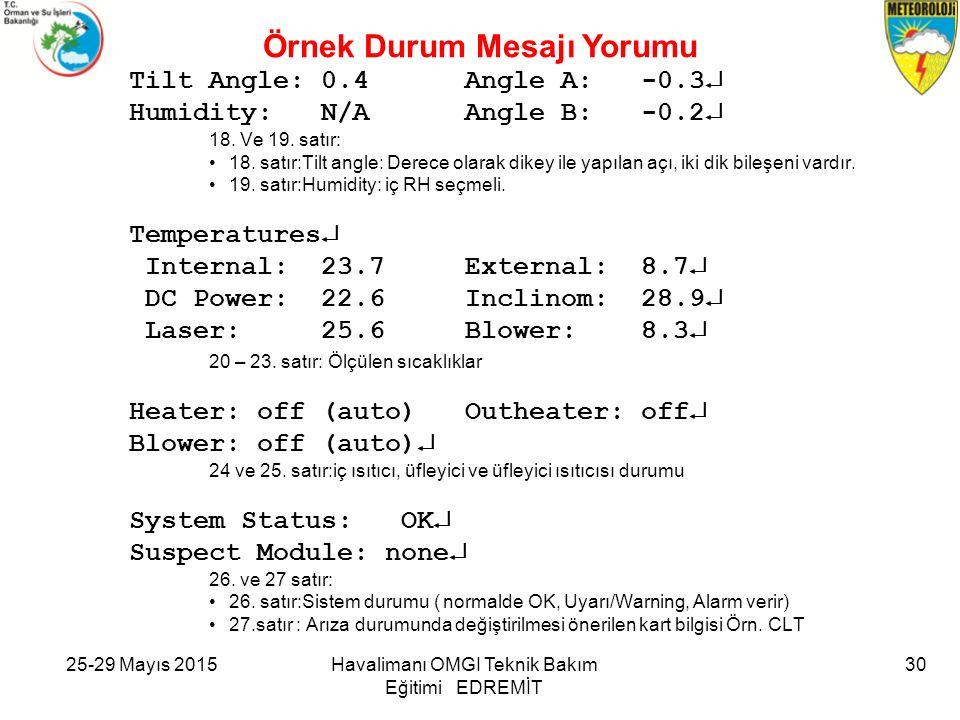 25-29 Mayıs 2015Havalimanı OMGİ Teknik Bakım Eğitimi EDREMİT 30 Tilt Angle: 0.4 Angle A: -0.3  Humidity: N/A Angle B: -0.2  18. Ve 19. satır: 18. sa