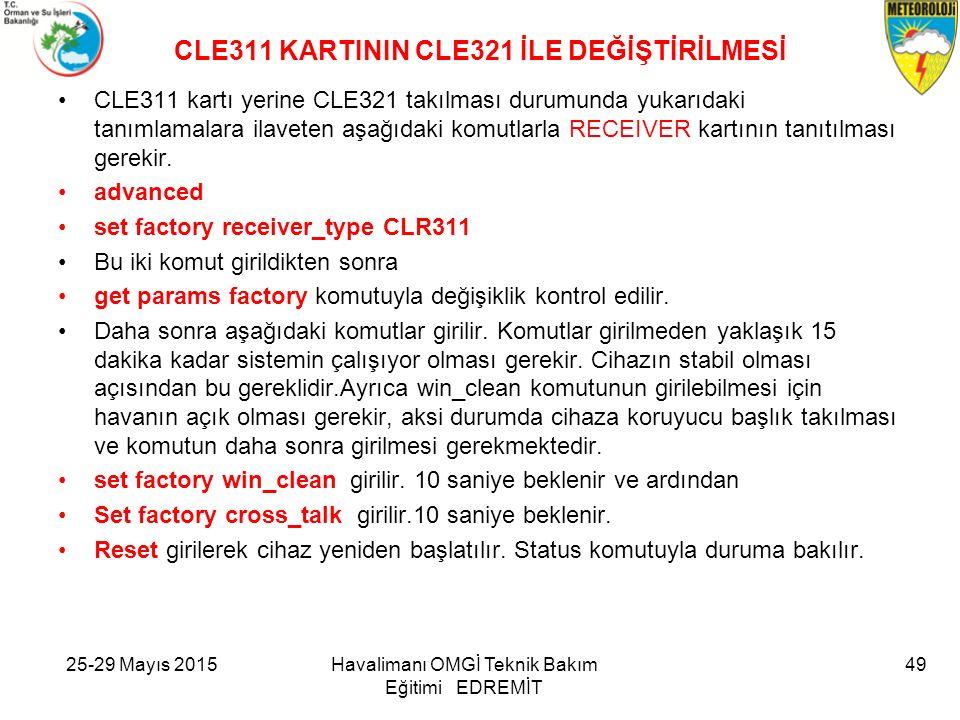 25-29 Mayıs 2015Havalimanı OMGİ Teknik Bakım Eğitimi EDREMİT CLE311 KARTININ CLE321 İLE DEĞİŞTİRİLMESİ CLE311 kartı yerine CLE321 takılması durumunda
