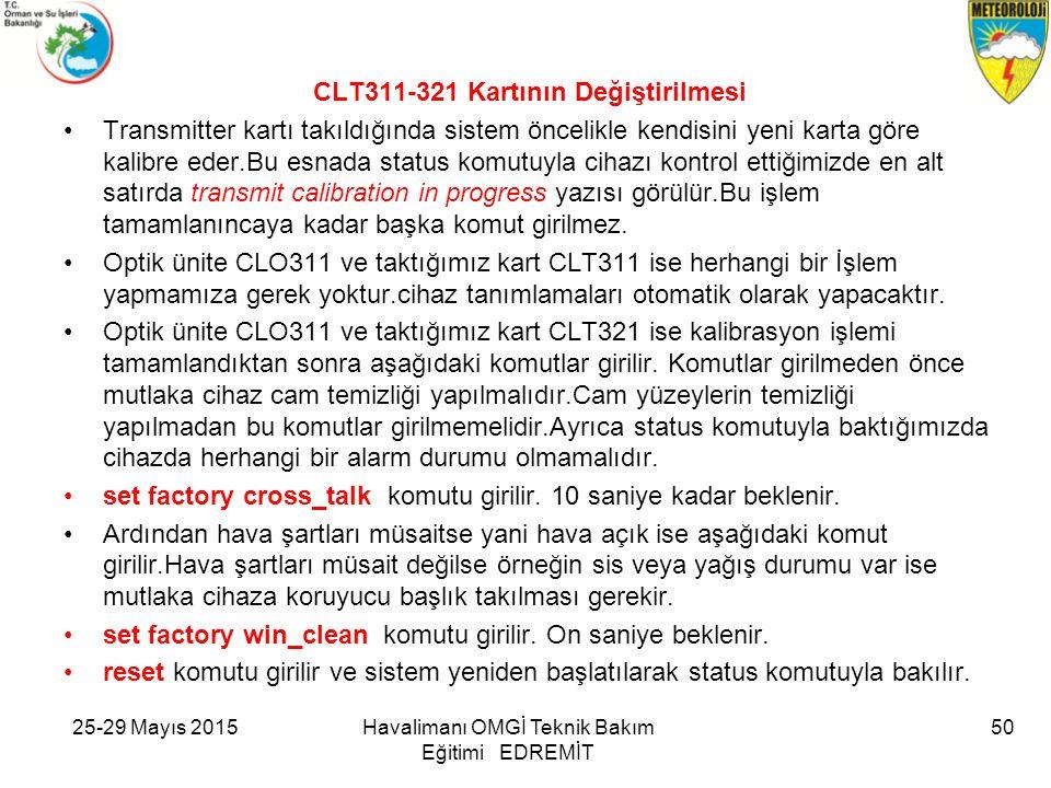 25-29 Mayıs 2015Havalimanı OMGİ Teknik Bakım Eğitimi EDREMİT CLT311-321 Kartının Değiştirilmesi Transmitter kartı takıldığında sistem öncelikle kendis