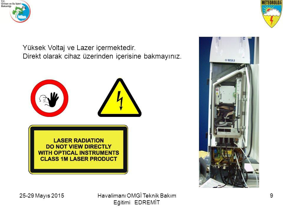 25-29 Mayıs 2015Havalimanı OMGİ Teknik Bakım Eğitimi EDREMİT 9 Yüksek Voltaj ve Lazer içermektedir. Direkt olarak cihaz üzerinden içerisine bakmayınız