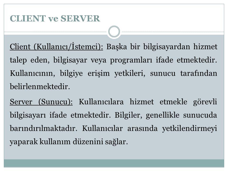 CLIENT ve SERVER Client (Kullanıcı/İstemci): Başka bir bilgisayardan hizmet talep eden, bilgisayar veya programları ifade etmektedir. Kullanıcının, bi