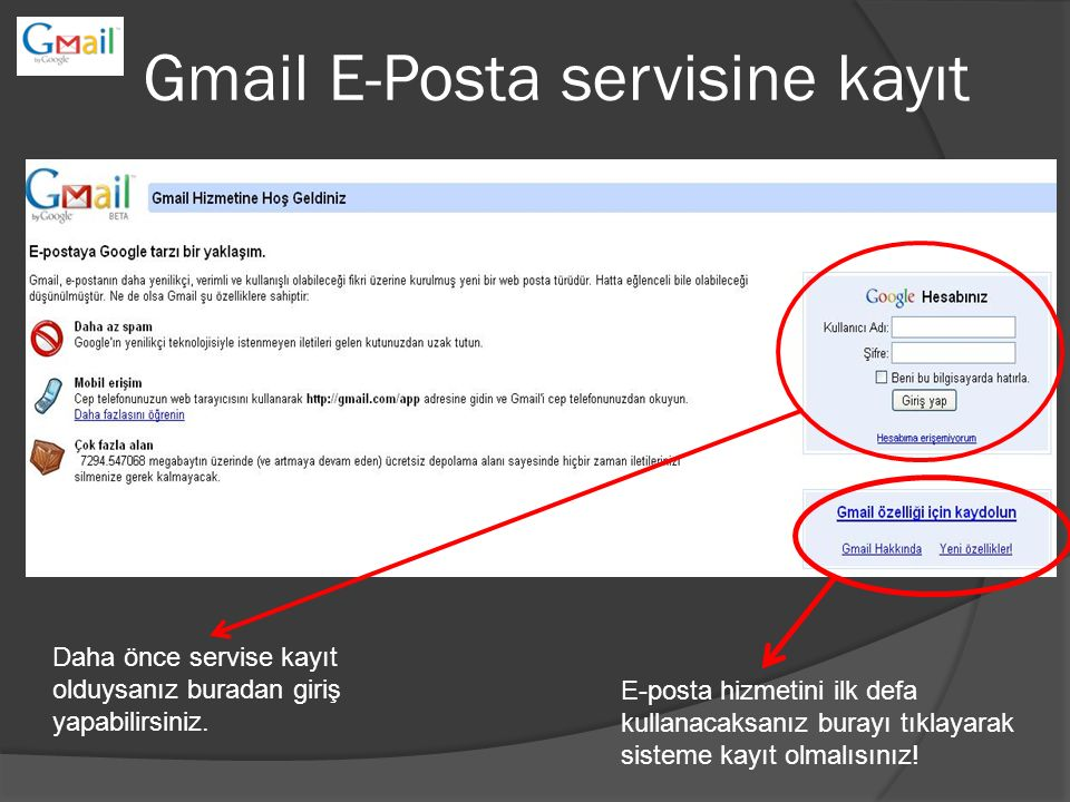 Gmail E-Posta servisine kayıt Daha önce servise kayıt olduysanız buradan giriş yapabilirsiniz. E-posta hizmetini ilk defa kullanacaksanız burayı tıkla