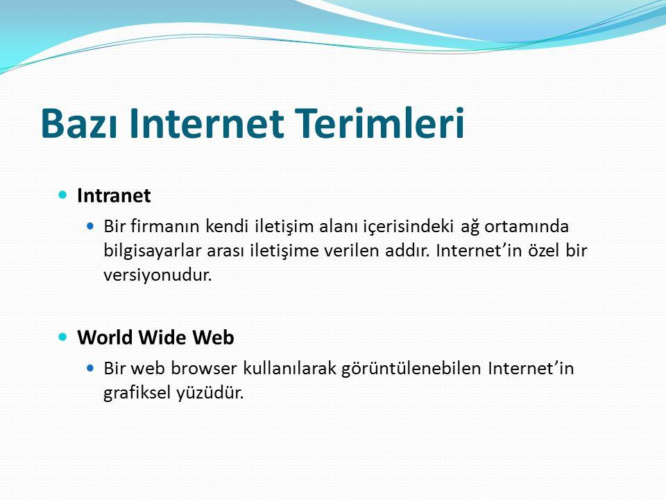 Bazı Internet Terimleri Intranet Bir firmanın kendi iletişim alanı içerisindeki ağ ortamında bilgisayarlar arası iletişime verilen addır. Internet'in