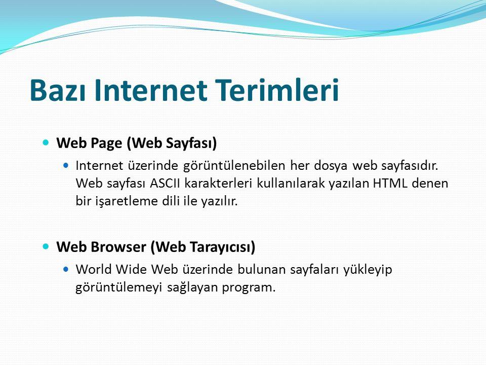 Bazı Internet Terimleri Web Page (Web Sayfası) Internet üzerinde görüntülenebilen her dosya web sayfasıdır. Web sayfası ASCII karakterleri kullanılara