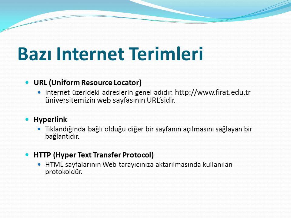 Bazı Internet Terimleri URL (Uniform Resource Locator) Internet üzerideki adreslerin genel adıdır. http://www.firat.edu.tr üniversitemizin web sayfası
