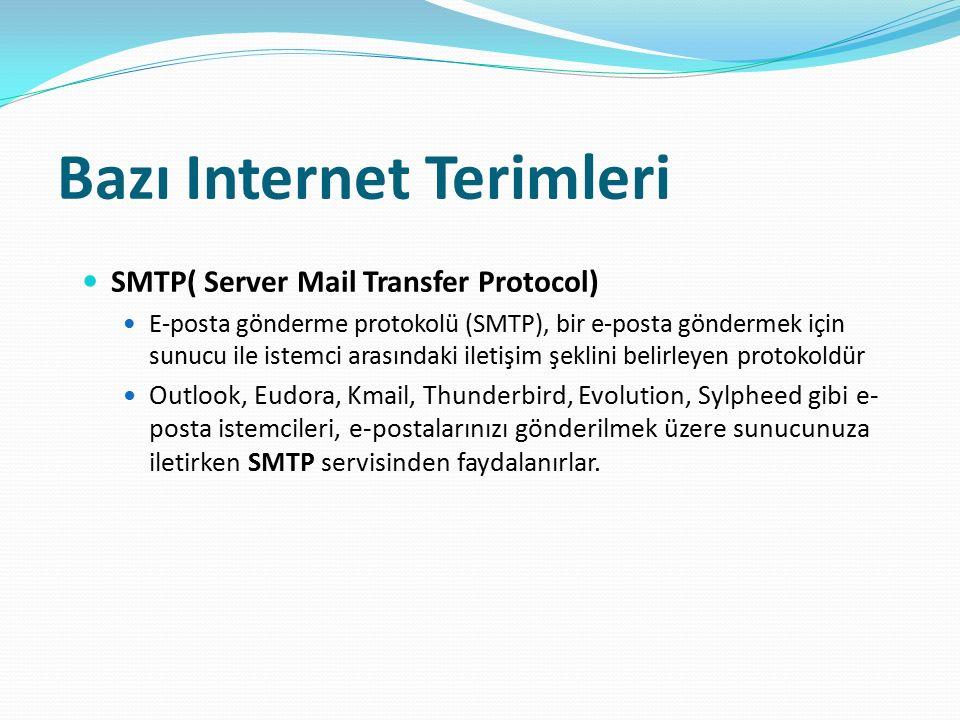 Bazı Internet Terimleri SMTP( Server Mail Transfer Protocol) E-posta gönderme protokolü (SMTP), bir e-posta göndermek için sunucu ile istemci arasında