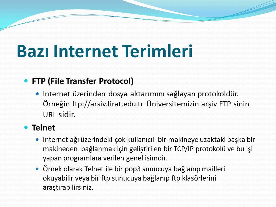Bazı Internet Terimleri FTP (File Transfer Protocol) Internet üzerinden dosya aktarımını sağlayan protokoldür. Örneğin ftp://arsiv.firat.edu.tr Üniver
