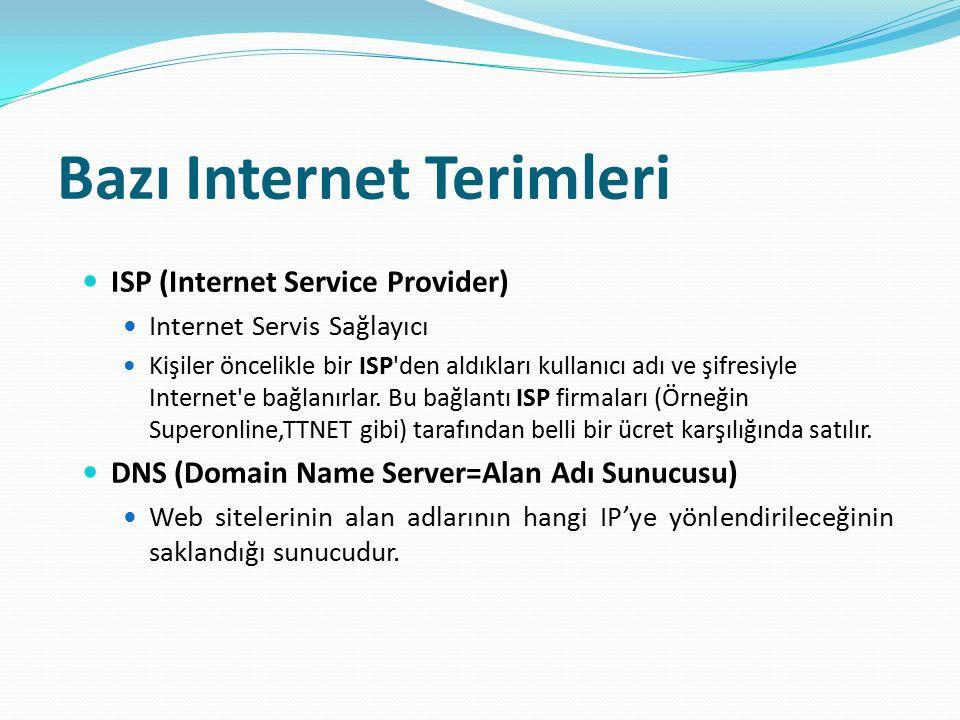 Bazı Internet Terimleri ISP (Internet Service Provider) Internet Servis Sağlayıcı Kişiler öncelikle bir ISP'den aldıkları kullanıcı adı ve şifresiyle