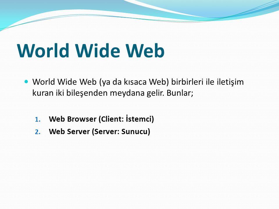 World Wide Web World Wide Web (ya da kısaca Web) birbirleri ile iletişim kuran iki bileşenden meydana gelir. Bunlar; 1. Web Browser (Client: İstemci)
