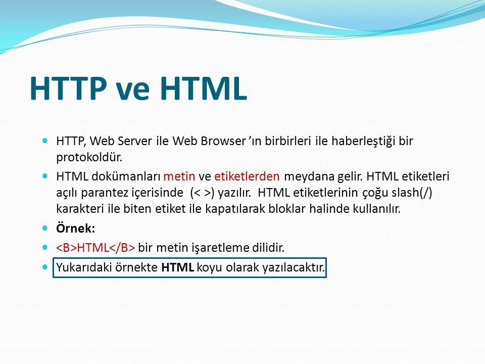 HTTP ve HTML HTTP, Web Server ile Web Browser 'ın birbirleri ile haberleştiği bir protokoldür. HTML dokümanları metin ve etiketlerden meydana gelir. H