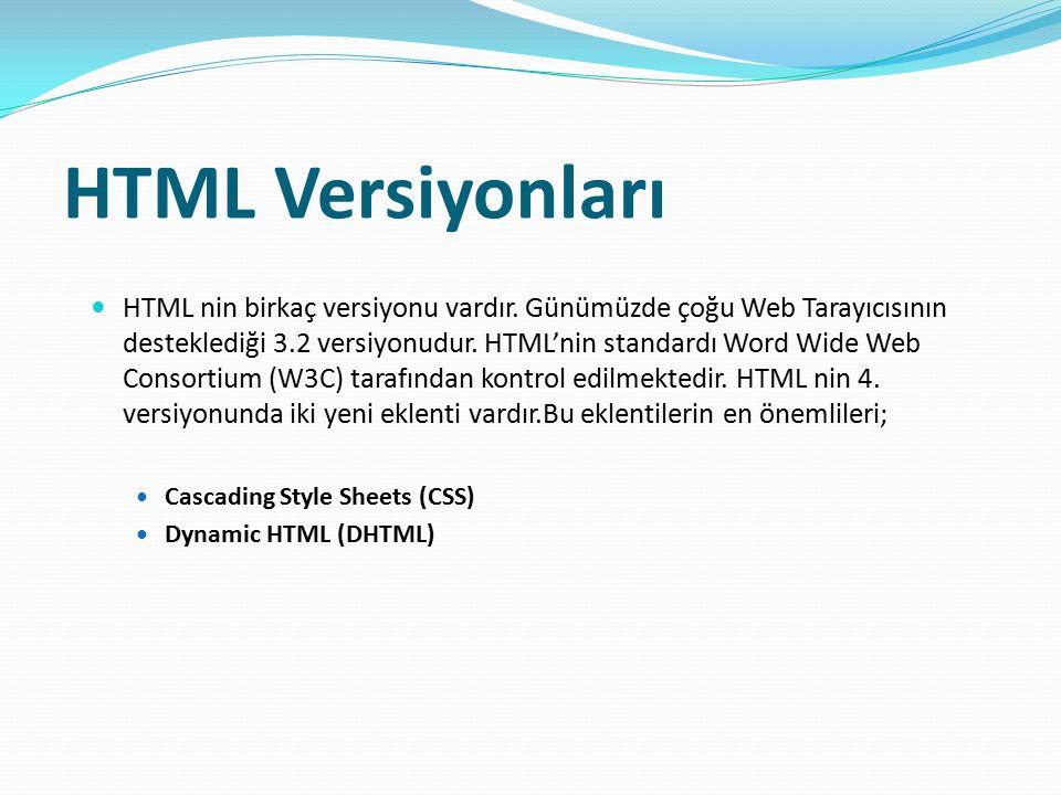 HTML Versiyonları HTML nin birkaç versiyonu vardır. Günümüzde çoğu Web Tarayıcısının desteklediği 3.2 versiyonudur. HTML'nin standardı Word Wide Web C