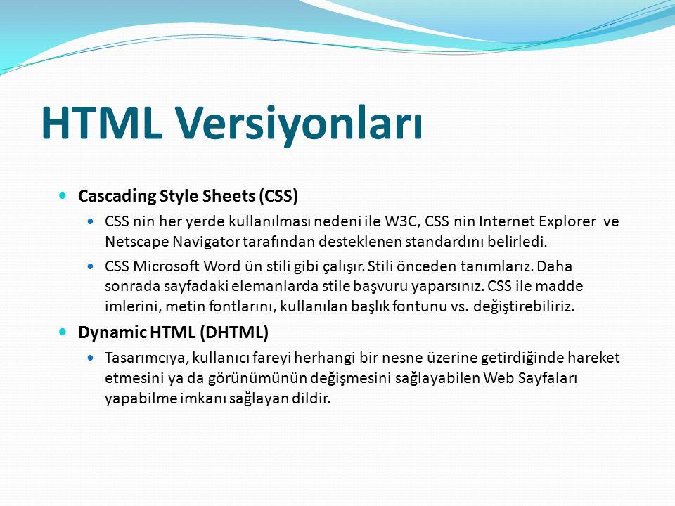 HTML Versiyonları Cascading Style Sheets (CSS) CSS nin her yerde kullanılması nedeni ile W3C, CSS nin Internet Explorer ve Netscape Navigator tarafınd