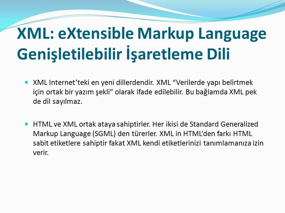 """XML: eXtensible Markup Language Genişletilebilir İşaretleme Dili XML Internet'teki en yeni dillerdendir. XML """"Verilerde yapı belirtmek için ortak bir"""
