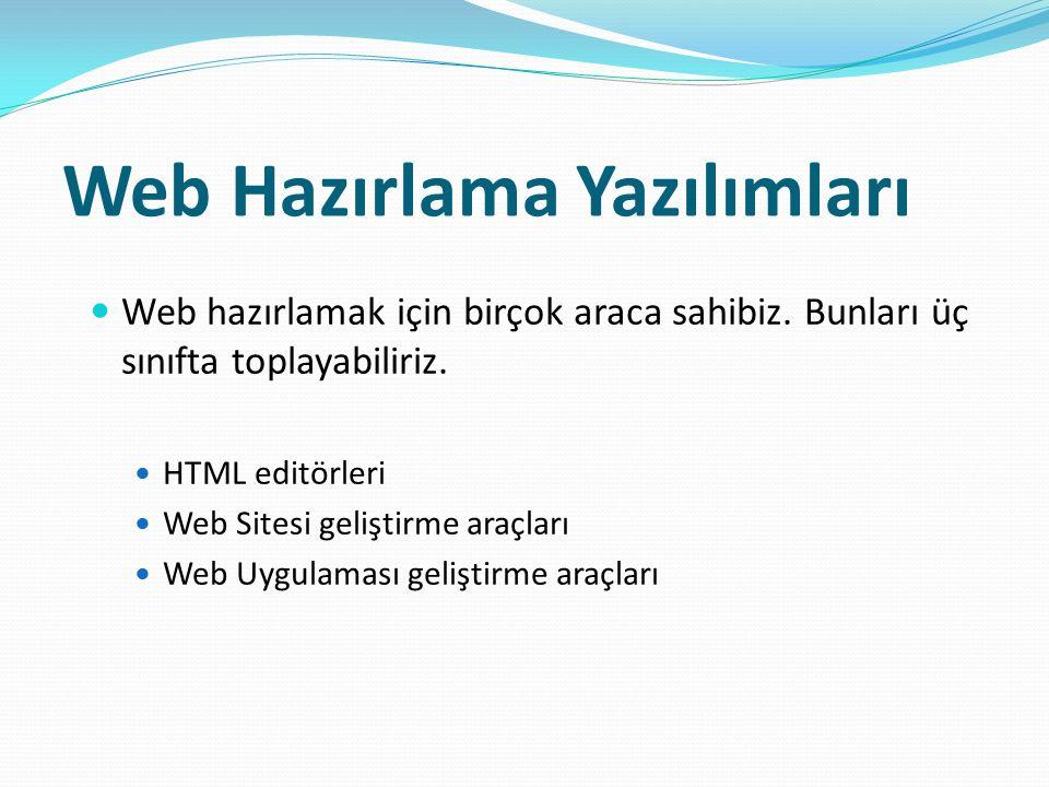Web Hazırlama Yazılımları Web hazırlamak için birçok araca sahibiz. Bunları üç sınıfta toplayabiliriz. HTML editörleri Web Sitesi geliştirme araçları