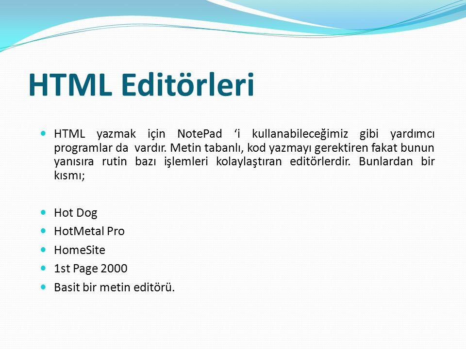 HTML Editörleri HTML yazmak için NotePad 'i kullanabileceğimiz gibi yardımcı programlar da vardır. Metin tabanlı, kod yazmayı gerektiren fakat bunun y