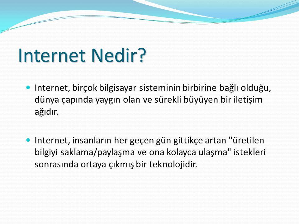 Internet Nedir? Internet, birçok bilgisayar sisteminin birbirine bağlı olduğu, dünya çapında yaygın olan ve sürekli büyüyen bir iletişim ağıdır. Inter