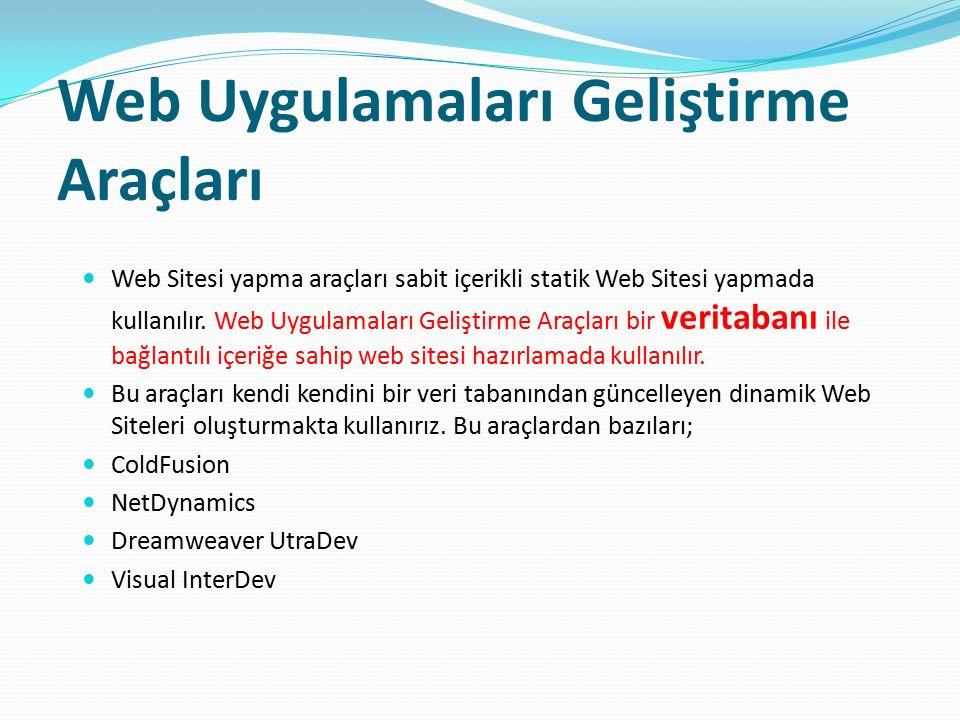Web Uygulamaları Geliştirme Araçları Web Sitesi yapma araçları sabit içerikli statik Web Sitesi yapmada kullanılır. Web Uygulamaları Geliştirme Araçla