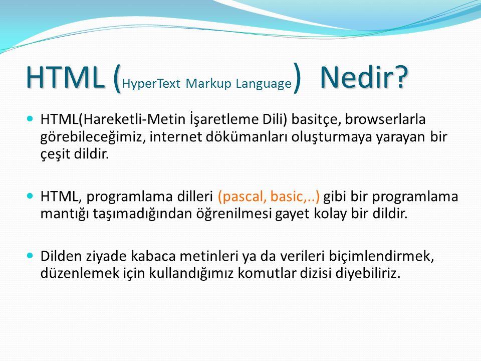HTML ( Nedir? HTML ( HyperText Markup Language ) Nedir? HTML(Hareketli-Metin İşaretleme Dili) basitçe, browserlarla görebileceğimiz, internet dökümanl