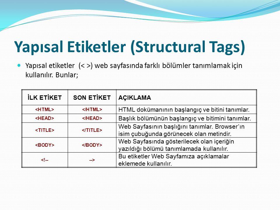 Yapısal Etiketler (Structural Tags) Yapısal etiketler ( ) web sayfasında farklı bölümler tanımlamak için kullanılır. Bunlar; İLK ETİKETSON ETİKETAÇIKL
