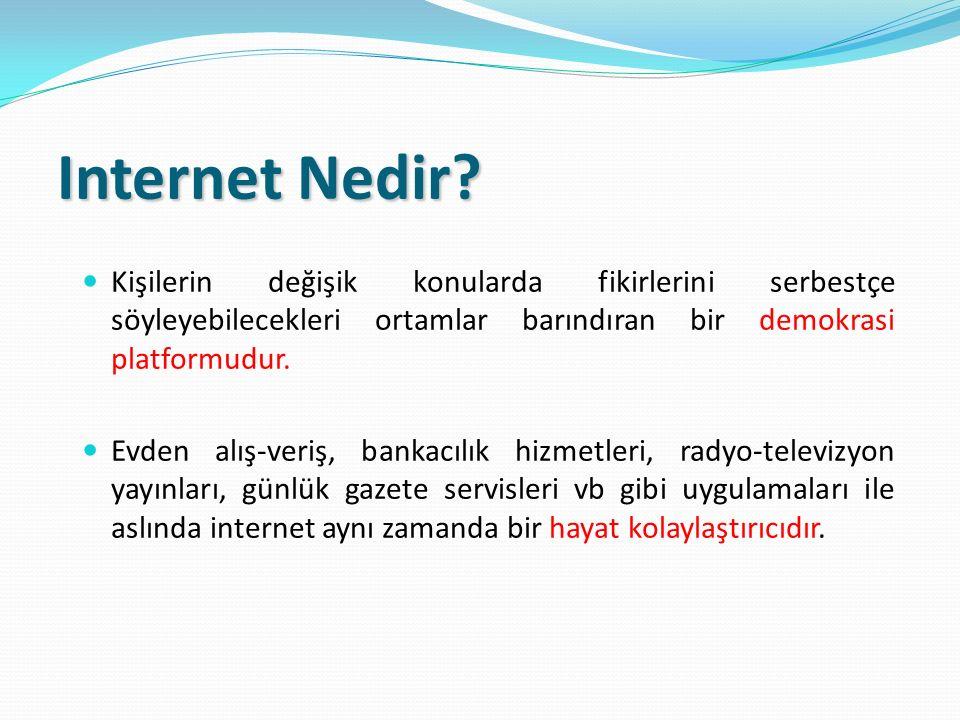 Internet Nedir? Kişilerin değişik konularda fikirlerini serbestçe söyleyebilecekleri ortamlar barındıran bir demokrasi platformudur. Evden alış-veriş,
