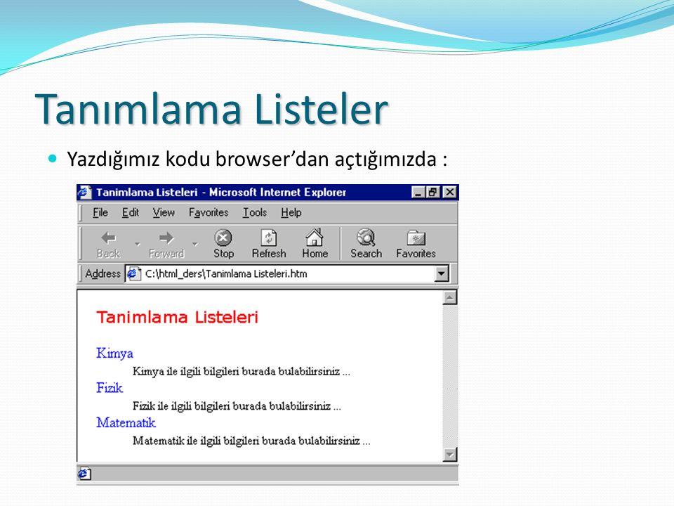 Yazdığımız kodu browser'dan açtığımızda :