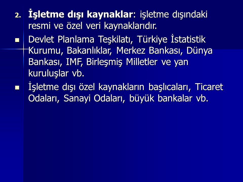 2. İşletme dışı kaynaklar: işletme dışındaki resmi ve özel veri kaynaklarıdır. Devlet Planlama Teşkilatı, Türkiye İstatistik Kurumu, Bakanlıklar, Merk