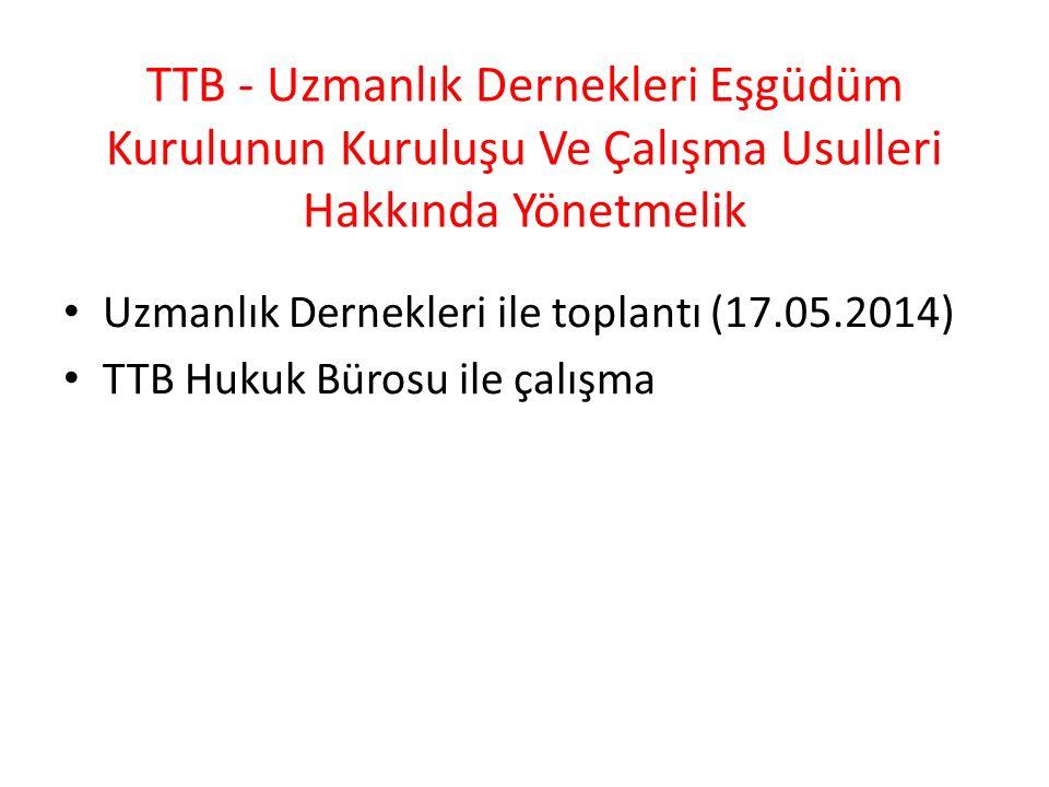TTB - Uzmanlık Dernekleri Eşgüdüm Kurulunun Kuruluşu Ve Çalışma Usulleri Hakkında Yönetmelik Uzmanlık Dernekleri ile toplantı (17.05.2014) TTB Hukuk Bürosu ile çalışma
