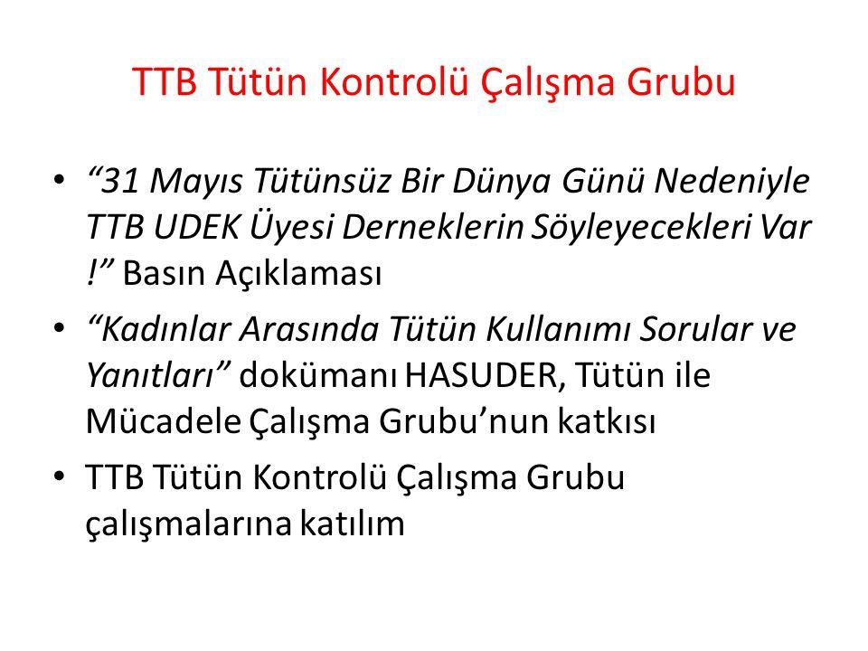 TTB Tütün Kontrolü Çalışma Grubu 31 Mayıs Tütünsüz Bir Dünya Günü Nedeniyle TTB UDEK Üyesi Derneklerin Söyleyecekleri Var ! Basın Açıklaması Kadınlar Arasında Tütün Kullanımı Sorular ve Yanıtları dokümanı HASUDER, Tütün ile Mücadele Çalışma Grubu'nun katkısı TTB Tütün Kontrolü Çalışma Grubu çalışmalarına katılım