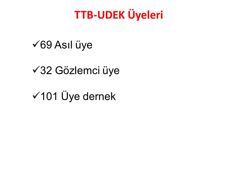 TTB-UDEK Üyeleri 69 Asıl üye 32 Gözlemci üye 101 Üye dernek