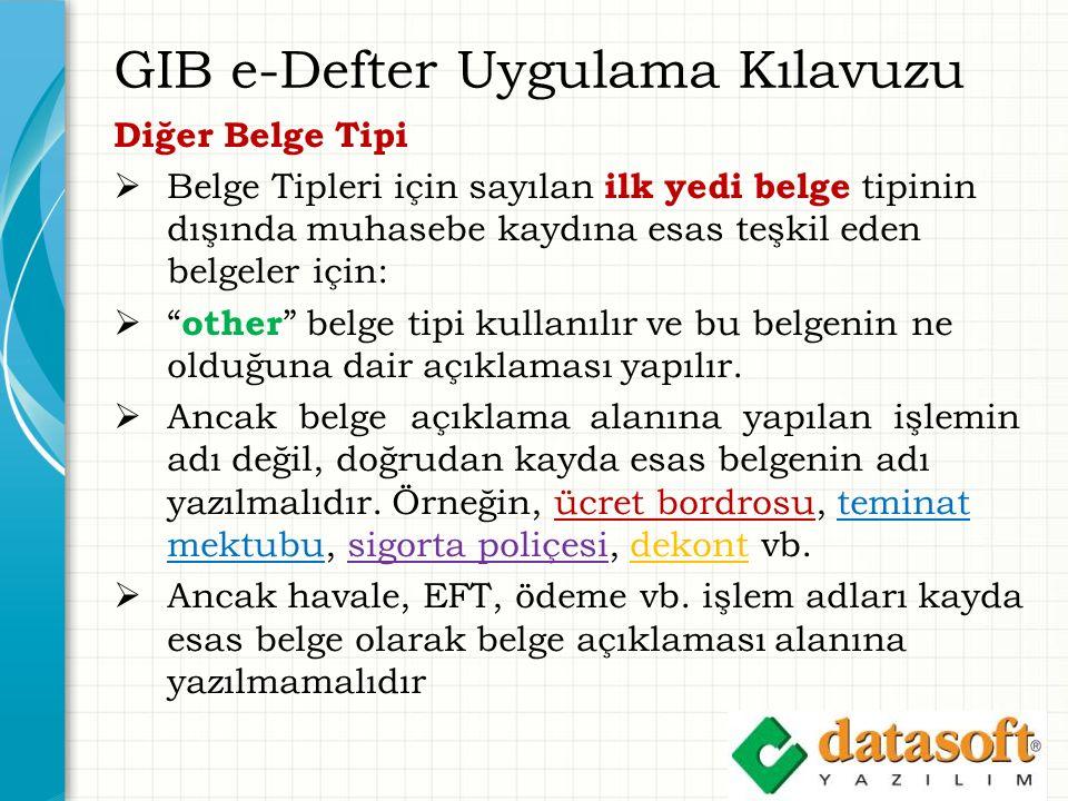GIB e-Defter Uygulama Kılavuzu Diğer Belge Tipi  Belge Tipleri için sayılan ilk yedi belge tipinin dışında muhasebe kaydına esas teşkil eden belgeler