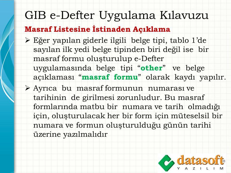 GIB e-Defter Uygulama Kılavuzu Masraf Listesine İstinaden Açıklama  Eğer yapılan giderle ilgili belge tipi, tablo 1'de sayılan ilk yedi belge tipinde