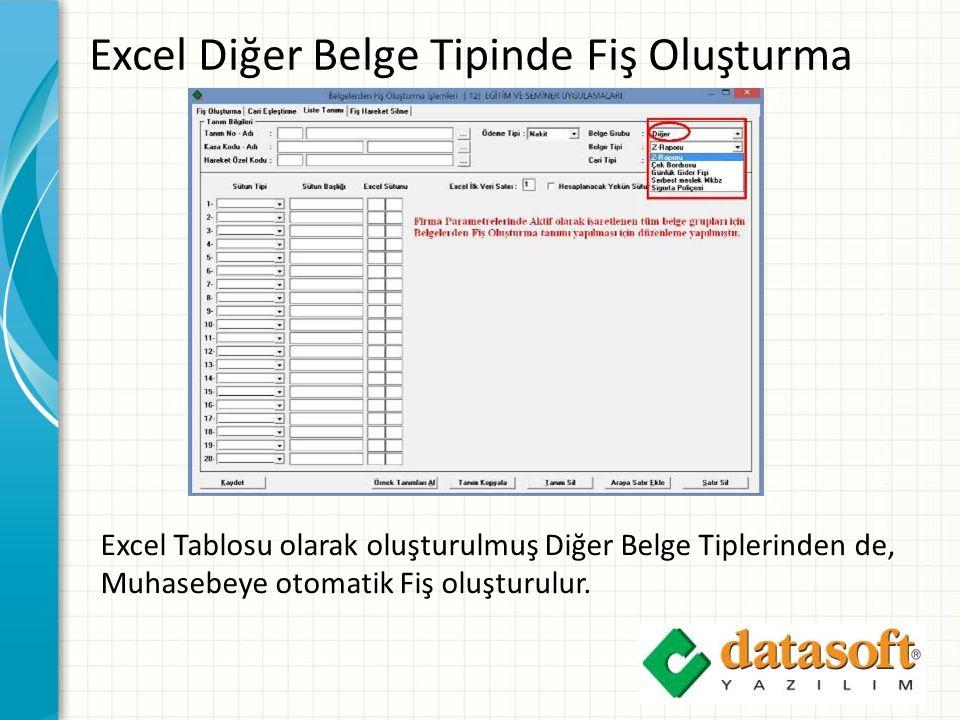 Excel Diğer Belge Tipinde Fiş Oluşturma Excel Tablosu olarak oluşturulmuş Diğer Belge Tiplerinden de, Muhasebeye otomatik Fiş oluşturulur.