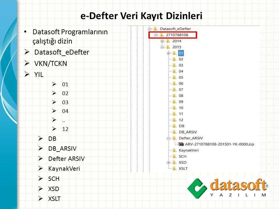 e-Defter Veri Kayıt Dizinleri Datasoft Programlarının çalıştığı dizin  Datasoft_eDefter  VKN/TCKN  YIL  01  02  03  04 ..  12  DB  DB_ARSIV