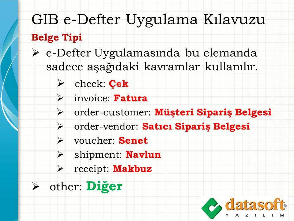 GIB e-Defter Uygulama Kılavuzu Belge Tipi  e-Defter Uygulamasında bu elemanda sadece aşağıdaki kavramlar kullanılır.  check: Çek  invoice: Fatura 