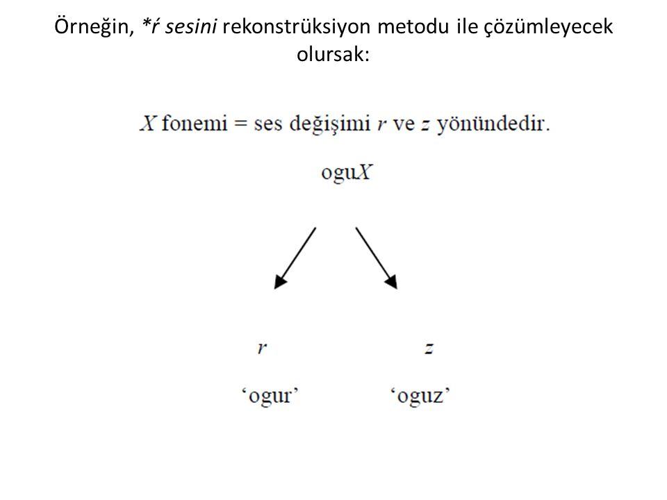 Örneğin, *ŕ sesini rekonstrüksiyon metodu ile çözümleyecek olursak: