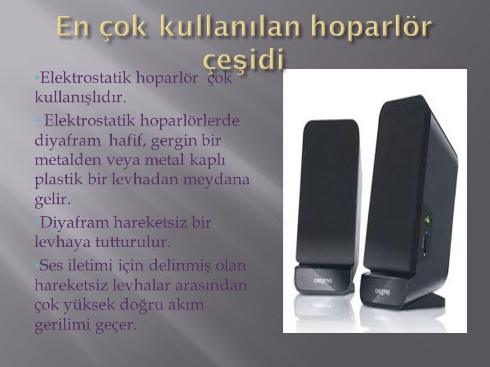 Elektrostatik hoparlör çok kullanışlıdır. Elektrostatik hoparlörlerde diyafram hafif, gergin bir metalden veya metal kaplı plastik bir levhadan meydan