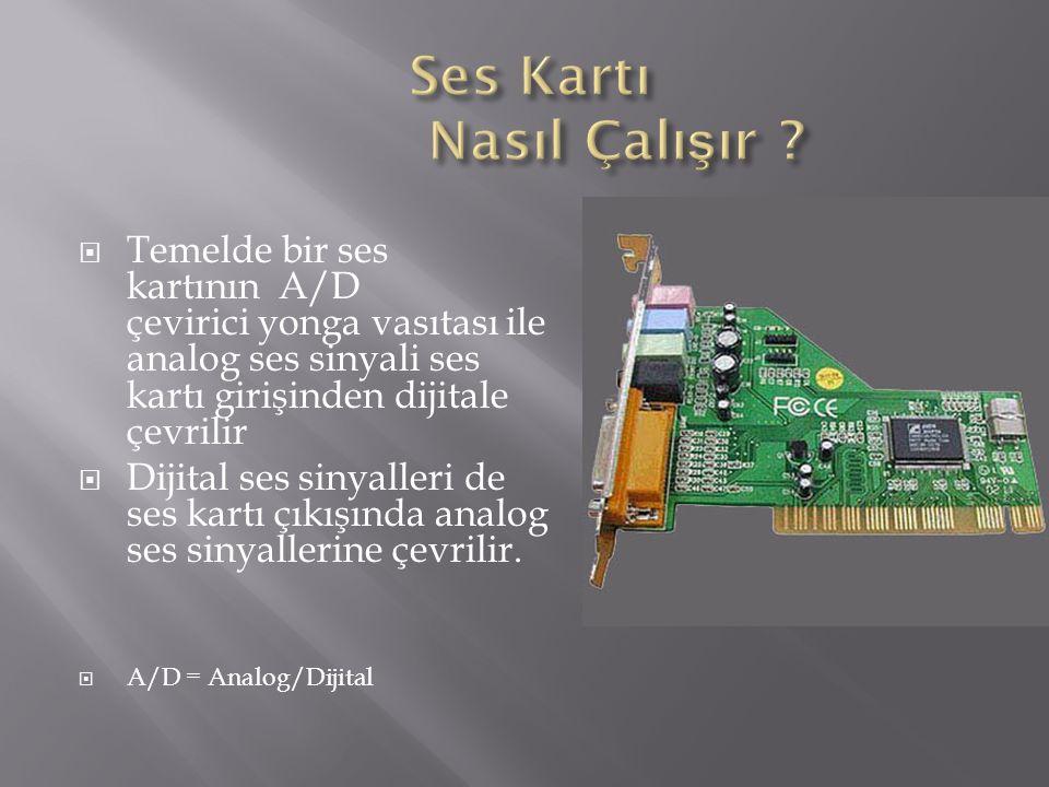  Temelde bir ses kartının A/D çevirici yonga vasıtası ile analog ses sinyali ses kartı girişinden dijitale çevrilir  Dijital ses sinyalleri de ses k