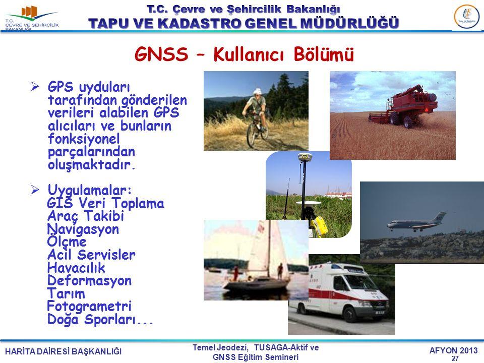 HARİTA DAİRESİ BAŞKANLIĞI Temel Jeodezi, TUSAGA-Aktif ve GNSS Eğitim Semineri AFYON 2013 GNSS – Kullanıcı Bölümü 27  GPS uyduları tarafından gönderil