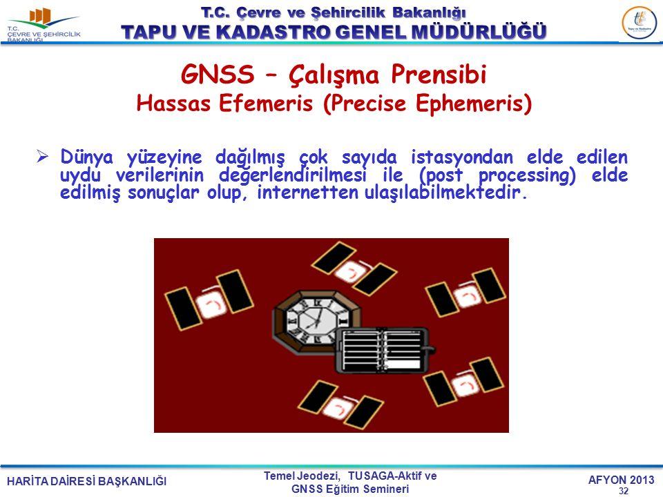 HARİTA DAİRESİ BAŞKANLIĞI Temel Jeodezi, TUSAGA-Aktif ve GNSS Eğitim Semineri AFYON 2013 GNSS – Çalışma Prensibi Hassas Efemeris (Precise Ephemeris) 3